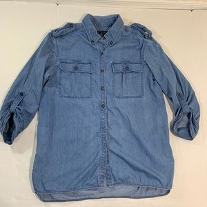 Lafayette 148 Chambray Tunic Blouse Top 8